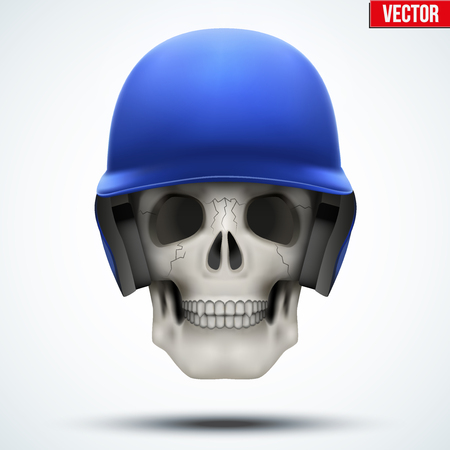 Human skull with baseball helmet. The symbol of strength and power. Vector illustration Isolated on white background. Illustration