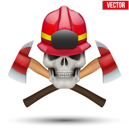 department head: Human skull with fireman helmet and axes. Firefighter in style of the Jolly Roger. The symbol of strength and power. Vector illustration Isolated on white background. Illustration