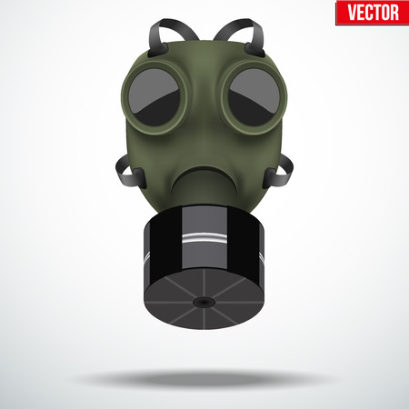 wwii: Retro vintage gas mask with one filter. Army symbol WWII. Editable Vector illustration Isolated on white background.