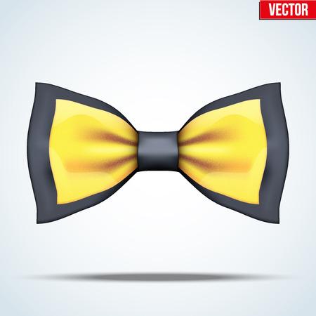 de soie noire réaliste et arc d'or cravate. Accessoires de luxe. Mode et symbole à la mode. Editable Vector illustration isolé sur fond.