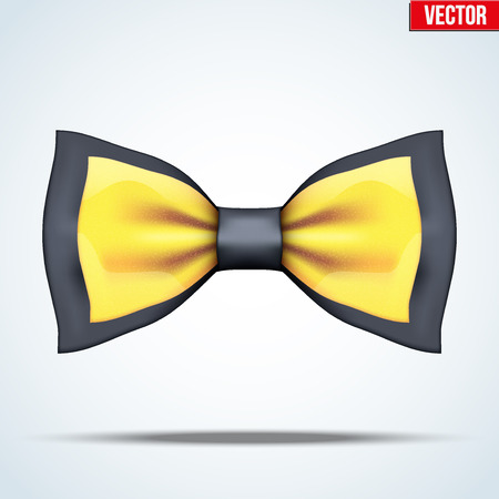 Realistic silk black and gold bow tie. Luxury accessories. Fashion and trendy symbol. Editable Vector illustration Isolated on background.