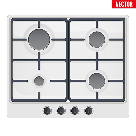 gaseous: Surface of white gas hob. Top view of stove. Domestic equipment. Editable Vector illustration Isolated on white background.