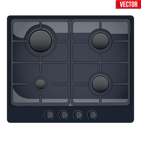 gaseous: Surface of black gas hob. Top view of stove. Domestic equipment. Editable Vector illustration Isolated on white background.