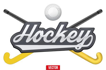 Hockeyveld tag met bal en stokken. Symbool van sport end apparatuur. Vector illustratie die op een witte achtergrond.