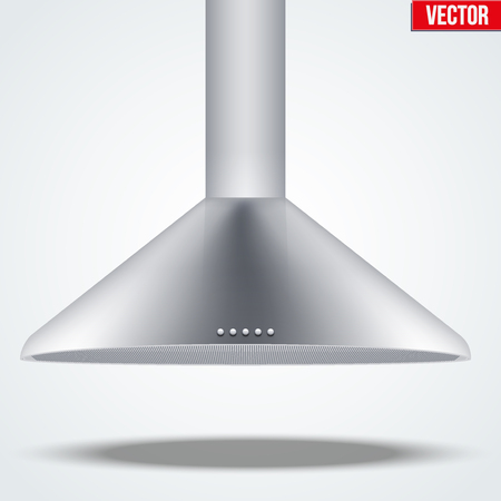 kitchen range: Kitchen range hood. Front view of semi round cooker hoods. Domestic equipment. Editable Vector illustration Isolated on white background.