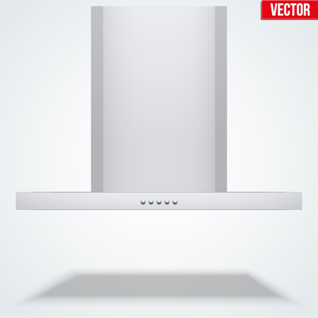 stainless steel range: Kitchen range hood. Front view of Suspended flat cooker hoods. Domestic equipment. Editable Vector illustration Isolated on white background.