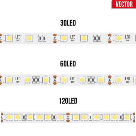 Set of typical LED tapes. Various types. Vector Illustration isolated on white background Illustration