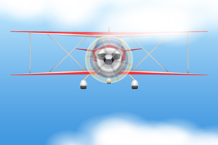 civil: Front view of Vintage Civil Light Airplane flying in the sky. Vector Illustration isolated on background.