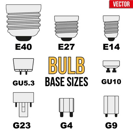 e27: Technical infographic of typical light bulb bases. Vector Illustration isolated on white background Illustration