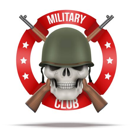 Symbol of Military US green helmet and skull infantry. Symbol of WWII. Vector Illustration isolated on background.