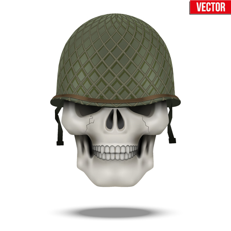 infantry: Military US green helmet and skull infantry. Symbol of WWII. Vector illustration Isolated on white background. Illustration