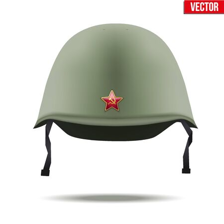 infantry: Military classic helmet of russian and soviet union infantry with red star. Vector Illustration Isolated on white background.