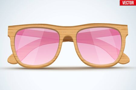 old fashioned: Vintage sunglasses with wooden frame. Retro style. Vector Illustration isolated on white background.