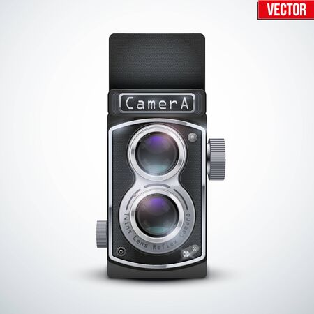 viewfinder vintage: Vintage twin lens reflex camera with open viewfinder. Front view. Realistic retro design of medium format camera. Vector Illustration isolated on white background. Illustration