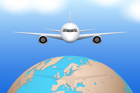 private plane: Front view of Plane flies over globe. Civil Aircraft. Public or private plane. For business and travel design. Vector Illustration isolated on background. Illustration