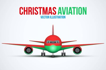 private plane: Front view of Civil Aircraft in Christmas style standing on the chassis. Public or private plane. For business and holiday travel design. Vector Illustration isolated on background.