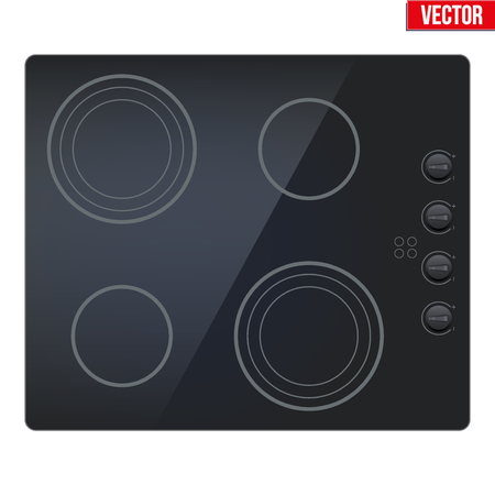 Surface of black electric and inductive hob. Top view of electric stove. Domestic equipment. Editable Vector illustration Isolated on white background.