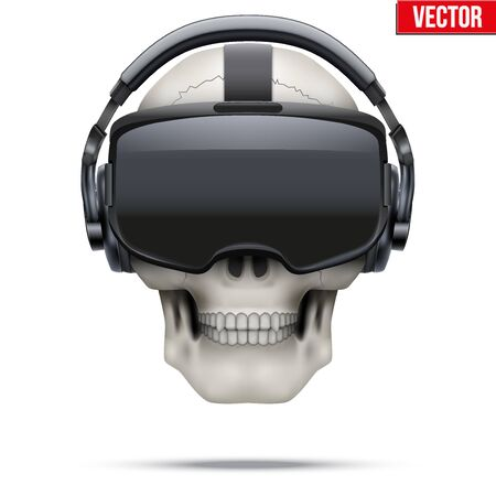 stereoscopic: Original stereoscopic 3d vr headset and human skull. Front view. Vector illustration Isolated on white background.