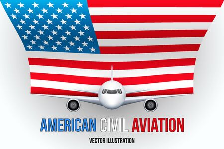 private plane: Front view of Civil Aircraft with flag of United States. Public or private plane. For business and travel design. Vector Illustration isolated on background. Illustration