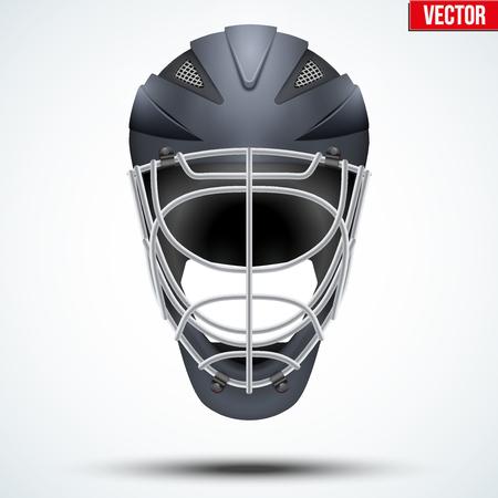icehockey: Classic black Goalkeeper Ice and Field Hockey Helmet isolated on Background. Sport Equipment. Editable Vector illustration isolated on white background.