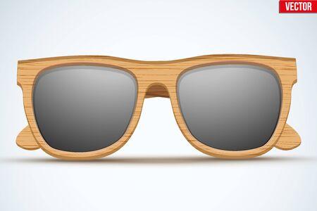 eyewear: Vintage sunglasses with wooden frame. Fashion modern design. Vector Illustration isolated on white background.