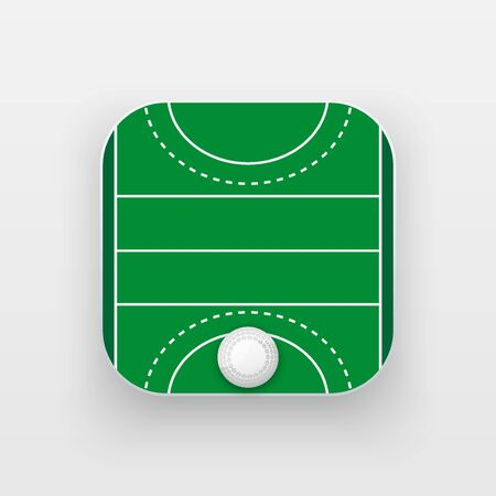hockey cesped: icono cuadrado de campo de hockey sobre hierba. ámbito deportivo y la bola. Ilustración del vector aislado en el fondo.
