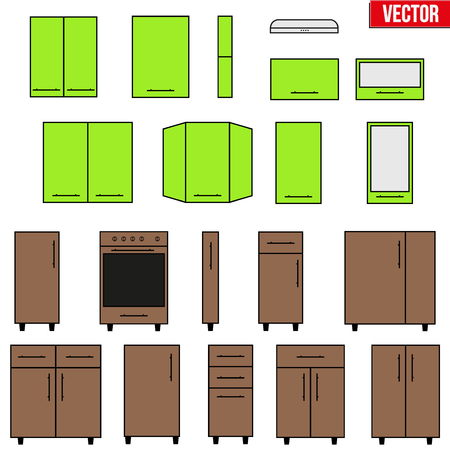 configuration: Set of typical objects for modular kitchens in two color. Flat style elements for design interior configuration. Vector Illustration isolated on white background Illustration