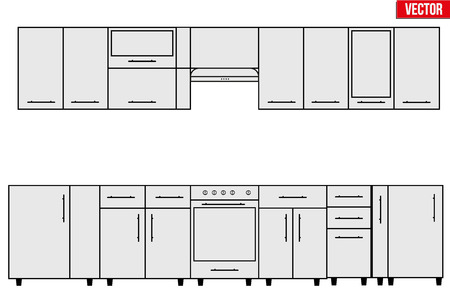 configuration: Sample of typical objects for modular kitchens. Flat style elements for design interior configuration. Vector Illustration isolated on white background