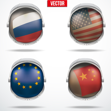 visor: Set of Astronaut helmets with flags reflecting on visor glass. Vector Illustration Isolated on White Background Illustration