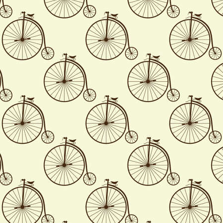 wheeler: Vintage high wheeler seamless pattern. Stylish retro print for covering or wrapping.  Illustration background.