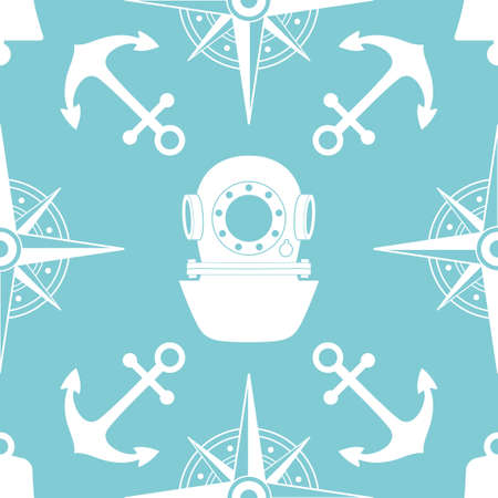 yachting: Vintage nautical seamless pattern. The diving and yachting theme. Stylish retro print for covering or wrapping.  Illustration background.