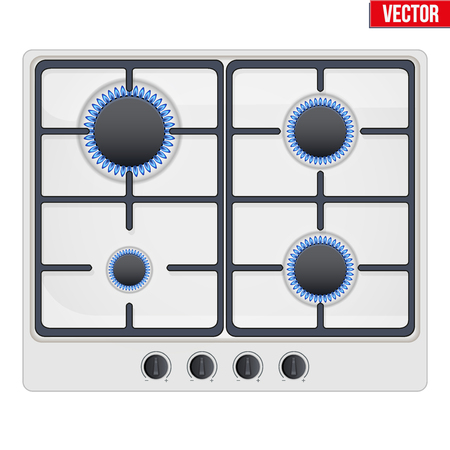 gaseous: Surface of white gas hob is on and with flame. Top view of stove. Domestic equipment. Editable Vector illustration Isolated on white background.