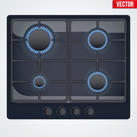stove top: Surface of black gas hob is on and with flame. Top view of stove. Domestic equipment. Editable Vector illustration Isolated on white background.