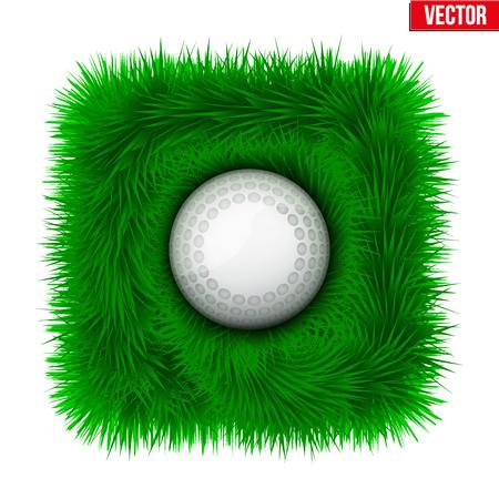 hockey cesped: Icono de la bola de hockey sobre hierba verde. deporte símbolo. Ilustración del vector aislado en el fondo blanco. Vectores