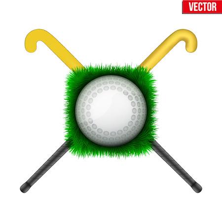hockey cesped: Icono de la bola de hockey sobre hierba verde y palos. deporte símbolo. Ilustración del vector aislado en el fondo blanco.