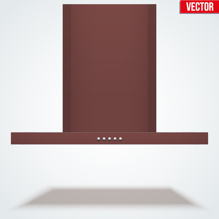 extractor: Kitchen range hood. Front view of Built in cooker hoods. Brass metal. Domestic equipment. Editable Vector illustration Isolated on white background.