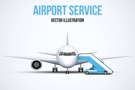private plane: Illustration of Airport service. Front view of Civil Aircraft standing on the chassis and service stair car. Public or private plane. Vector isolated on background. Illustration