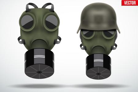 Set of retro gas mask and military helmet. Vintage grunge style. Editable Vector illustration Isolated on white background. Illustration