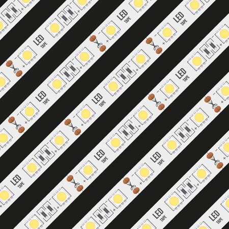 Background of typical LED tapes. Vector Illustration isolated on black background