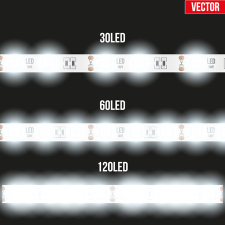 Set of typical LED tapes with light. Various types. Vector Illustration isolated on black background