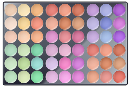 Big Palette of Make Up. All colors. For Beauty and cosmetics design. Editable Vector illustration Isolated on white background. Illustration