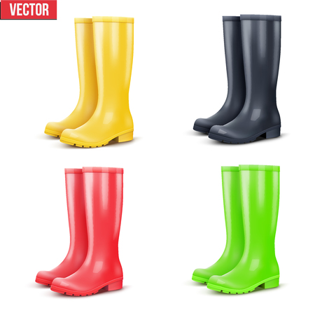 Set of rain rubber boots. Symbol of garden work or autumn and weather. Vector illustration Isolated on white background.