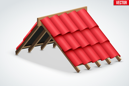 roof shingles: Icon of Roof with Wave Red Ceramic Cover. Industrial building design. Vector Illustration isolated on white background.