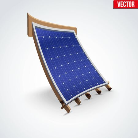 deformation: Icon demonstration solar panel cover on the roof. Cartoon deformation style. Vector Illustration isolated on white background.