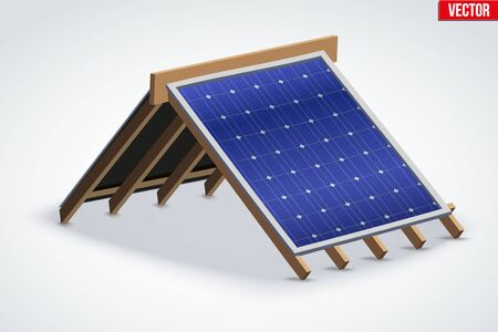 roof shingles: Icon of Roof with Solar Panel Cover. Industrial building design. Vector Illustration isolated on white background.