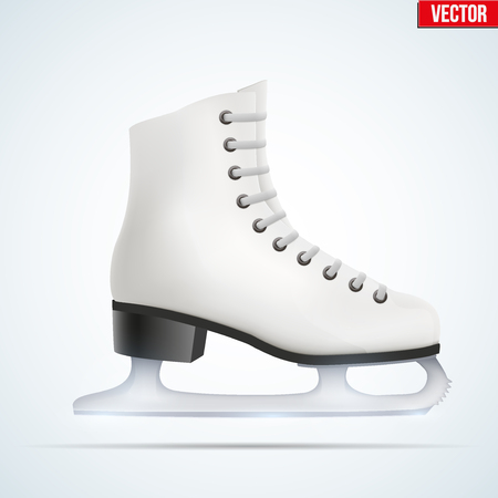 figureskating: White classic ice figure skates. Sport equipment. Side view. Vector Illustration isolated on white background.
