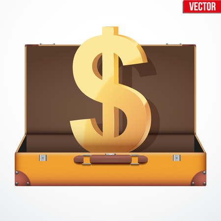 open suitcase: Concept of open suitcase with gold dollars icon inside. Vector Illustration isolated on white background.