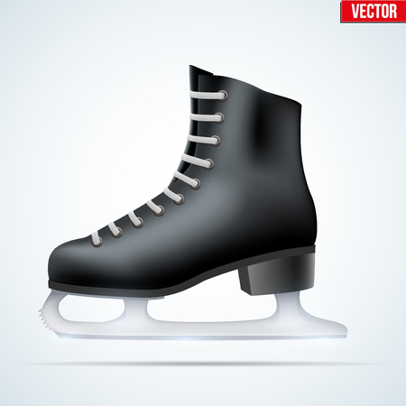 Black classic ice figure skates. Sport equipment. Side view. Vector Illustration isolated on white background.
