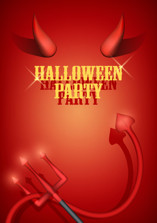 diabolic: Halloween Party Invitation with devil horns, tail and fork. Vector Illustration.