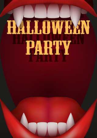 vampire teeth: Halloween Party Invitation with vampire mouth with open red lips and long teeth. Vector Illustration.